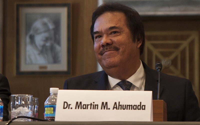Diné College Interim President Martin Ahumada testifies in support of a bill that would fund $2 million in construction for each of the next four years at the Navajo school.