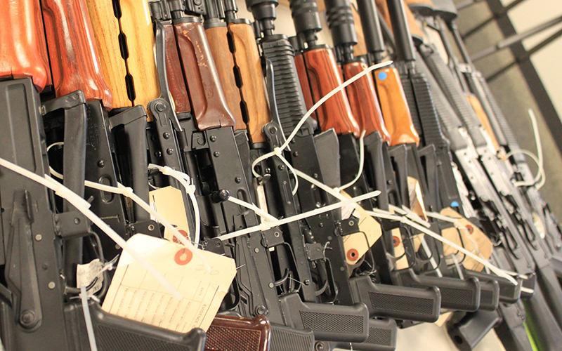 U.S. law enforcement officials in January showed off some of the guns they recaptured in gun-trafficking operations in Phoenix.
