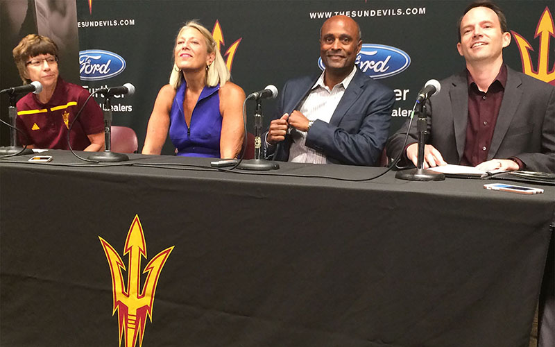 From left, ASU Women's Tennis coach Sheila Mcinerney, Buffie Anderson, ASU Athletic Director Ray Anderson and Chief of Staff Rocky Harris announce plans to restore men's tennis as a varsity Sun Devil sport.