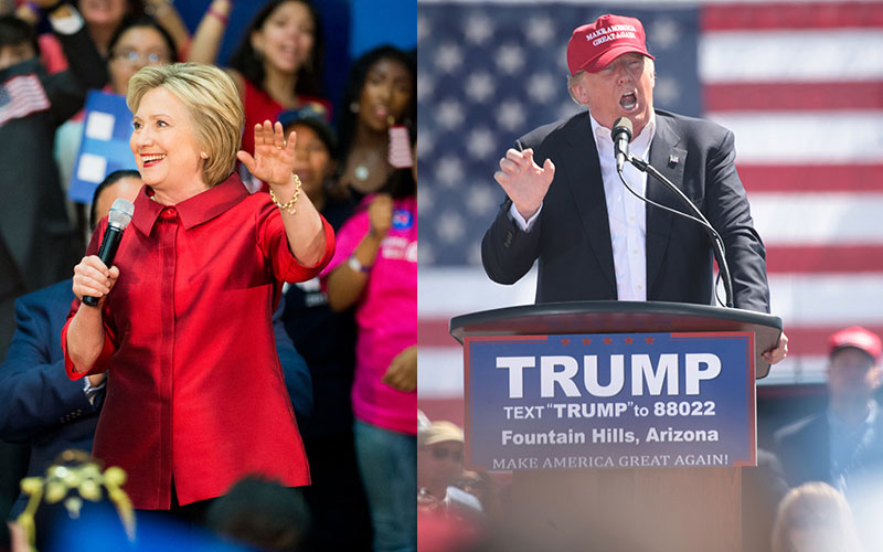 Left: Democratic presidential nominee Hillary Clinton. (Photo by Ben Moffat/Cronkite News) Right: Republican presidential nominee Donald Trump. (Photo by Miguel Otárola/Cronkite News)