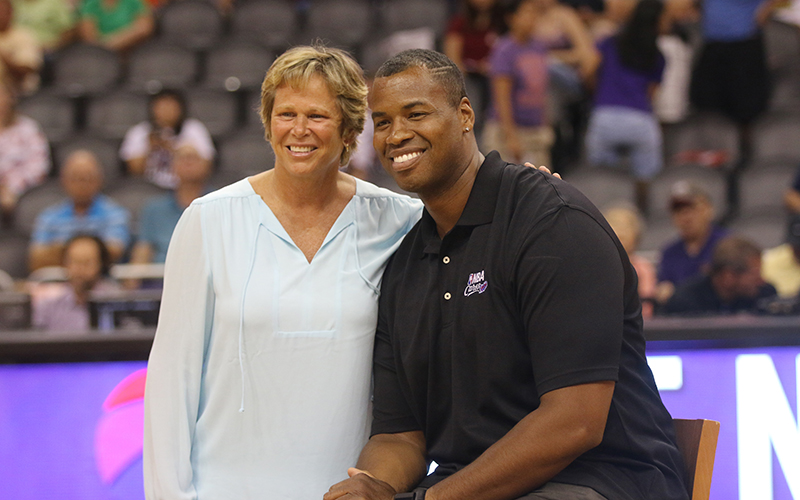 Jason Collins, former NBA player and LGBT community advocate, was voted top 100 most influential people by TIME magazine. Collins was interviewed at halftime by Ann Meyers Drysdale. (Photo by Landon Brown/Cronkite News)