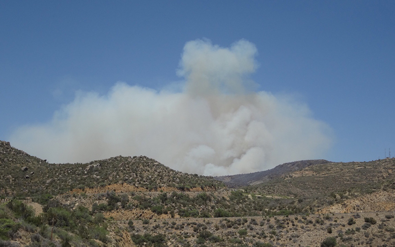 Smoke rises from the distant Tenderfoot wildfire, which currently threatens Yarnell, Arizona. (Photo courtesy of Lauren Kormylo)