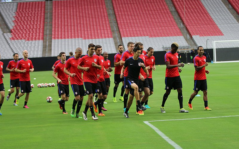 The U.S. Men's National Team trains at University of Phoenix Stadium on Thursday in preparation for its third place game against Colombia on Saturday. (Photo by Joseph Steen/Cronkite News)