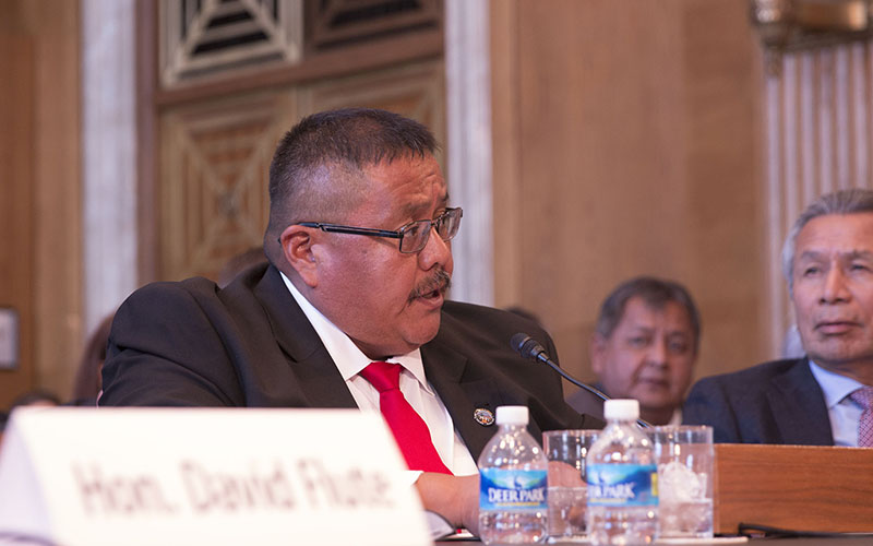 """White Mountain Apache Tribe Vice Chairman Kasey Velasquez said that the construction of the Miner Flat Dam was a """"very important"""" need for the tribe to deal with their failing groundwater supply. (Photo by Emily Zentner/Cronkite News)"""
