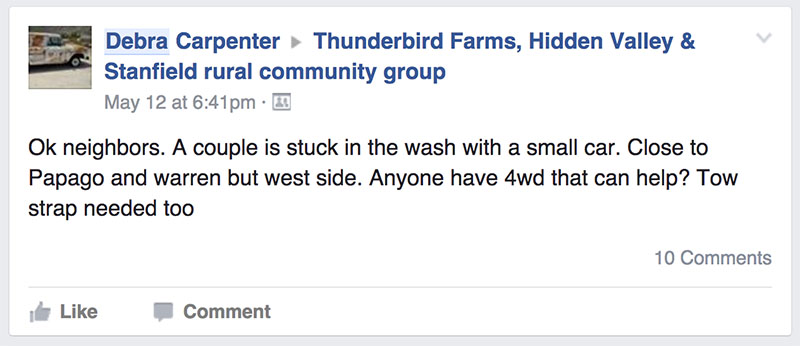 Debra Carpenter, a Facebook group member alerts the community about a couple whose car is stuck. Residents were to quick to jump on the opportunity to help.