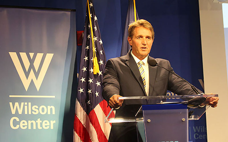 Arizona Republican Sen. Jeff Flake said turning the United States into a 'fortress' won't help it grow economically in the global market. (Photo by Sophia Kunthara/Cronkite News)