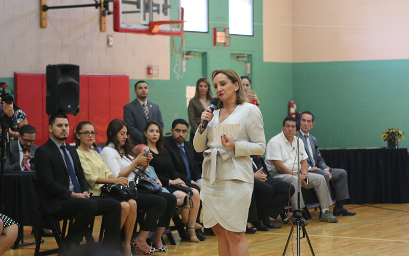 Claudia Ruiz Massieu, Secretary of Foreign Affairs for Mexico, talks about Arizona and Mexico opportunities for prosperity. (Photo by Socorro Carrillo/Cronkite News)