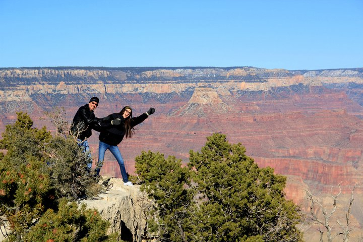 Peter and Kate Peifer poses precariously at the Grand Canyon. Kate Peifer says she and her father share a love of learning as far back as she can remember.