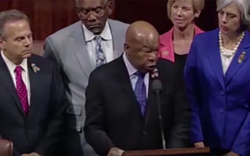 "Rep. John Lewis, D-Georgia, calls on fellow lawmakers to ""occupy this house"" in an effort to force House leaders to allow a vote on gun restrictions."