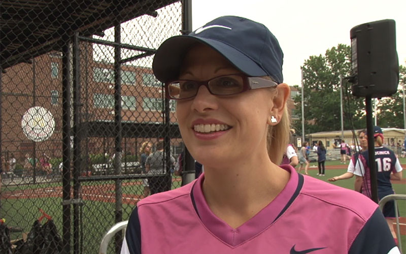 Rep. Kyrsten Sinema, D-Phoenix, has been a regular player in the annual Congressional Women's Softball Game, a charity game against the press. (Photo by Meghan Finnerty/Cronkite News)
