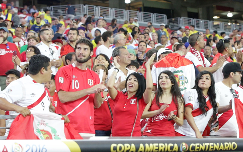 Peru fans look on before the start of their team's Copa America match against Ecuador.