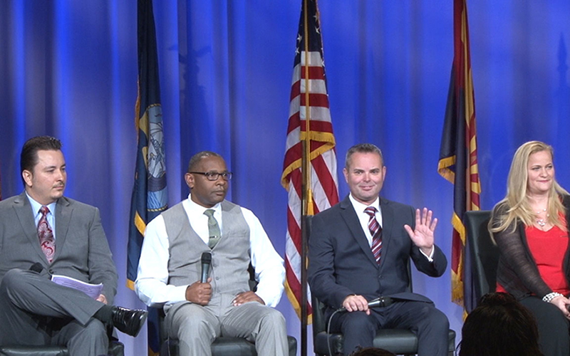 The summit featured many speakers, including veterans who now find success in business. (Photo by Eddie Keller/Cronkite News)