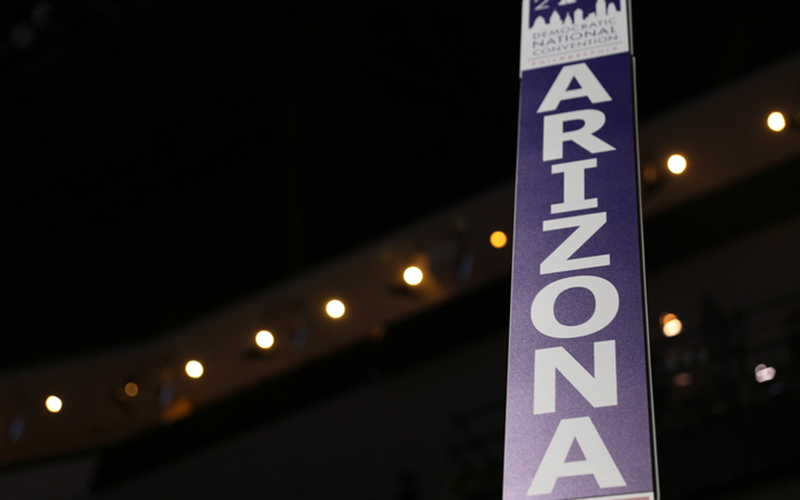 The Arizona delegate designation sign in the Democratic National Convention. (Photo by Lily Altavena/Cronkite News)
