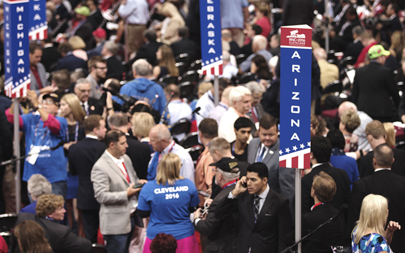 Arizona delegates prepare for the start of the Republican National Convention at Quicken Loans Arena, located in the heart of Cleveland. (Photo by Christopher West/Cronkite News)