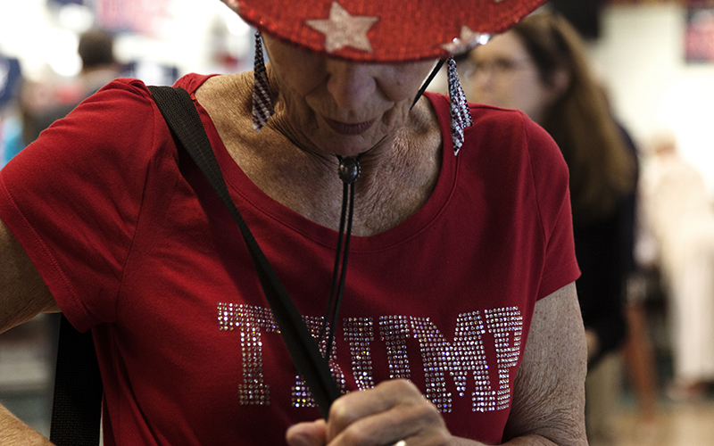 Arizona delegate Barbara Wyllie shows her party spirit at the Republican National Convention. (Photo by Christopher West/Cronkite News)