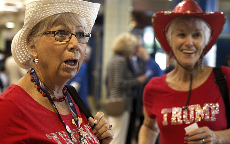 Corky Haynes and Barbara Wyllie, delegates from Arizona, express their reasoning behind voting in favor of Republican presidential candidate, Donald Trump. (Photo by Christopher West/Cronkite News)