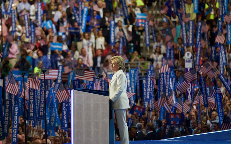 Hillary Clinton gives a speech on the final night of the Democratic National Convention. (Photo by Kelsey DeGideo/Cronkite News)