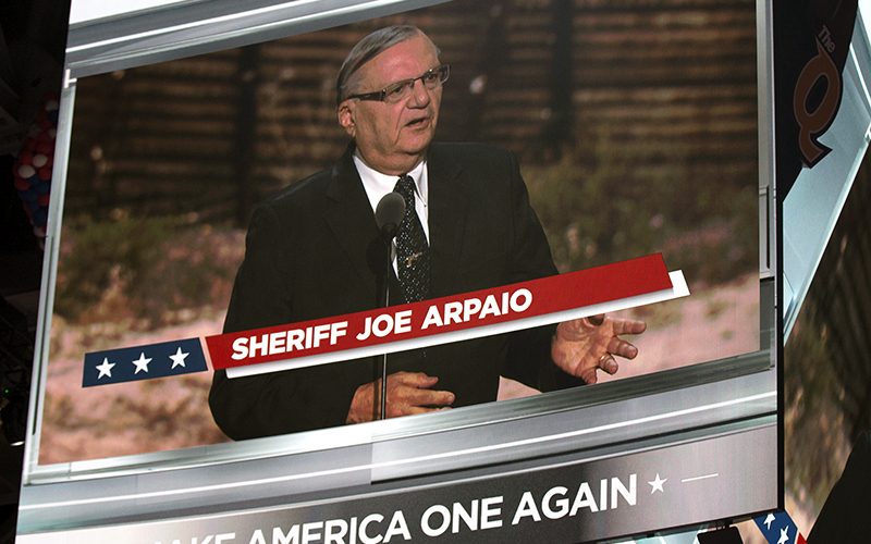 Maricopa County Sheriff Joe Arpaio addressed the Republican National Convention in Cleveland, Ohio.  (Photo by Christopher West/Cronkite News)
