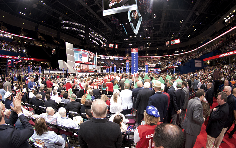 Delegates from every state gather in Quicken Loans Arena to cast their votes for  Republican presidential candidates. (Photo by Christopher West/Cronkite News)