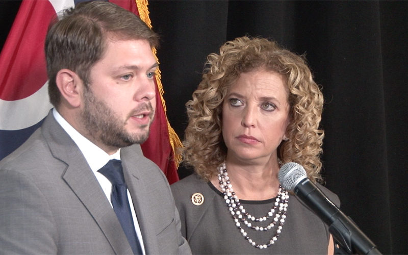 DNC Chairman Wasserman Schultz and Arizona's Ruben Gallego speak on the dangers of Trump's plan on foregin policy. (Photo by Krandall Brantley/Cronkite News)