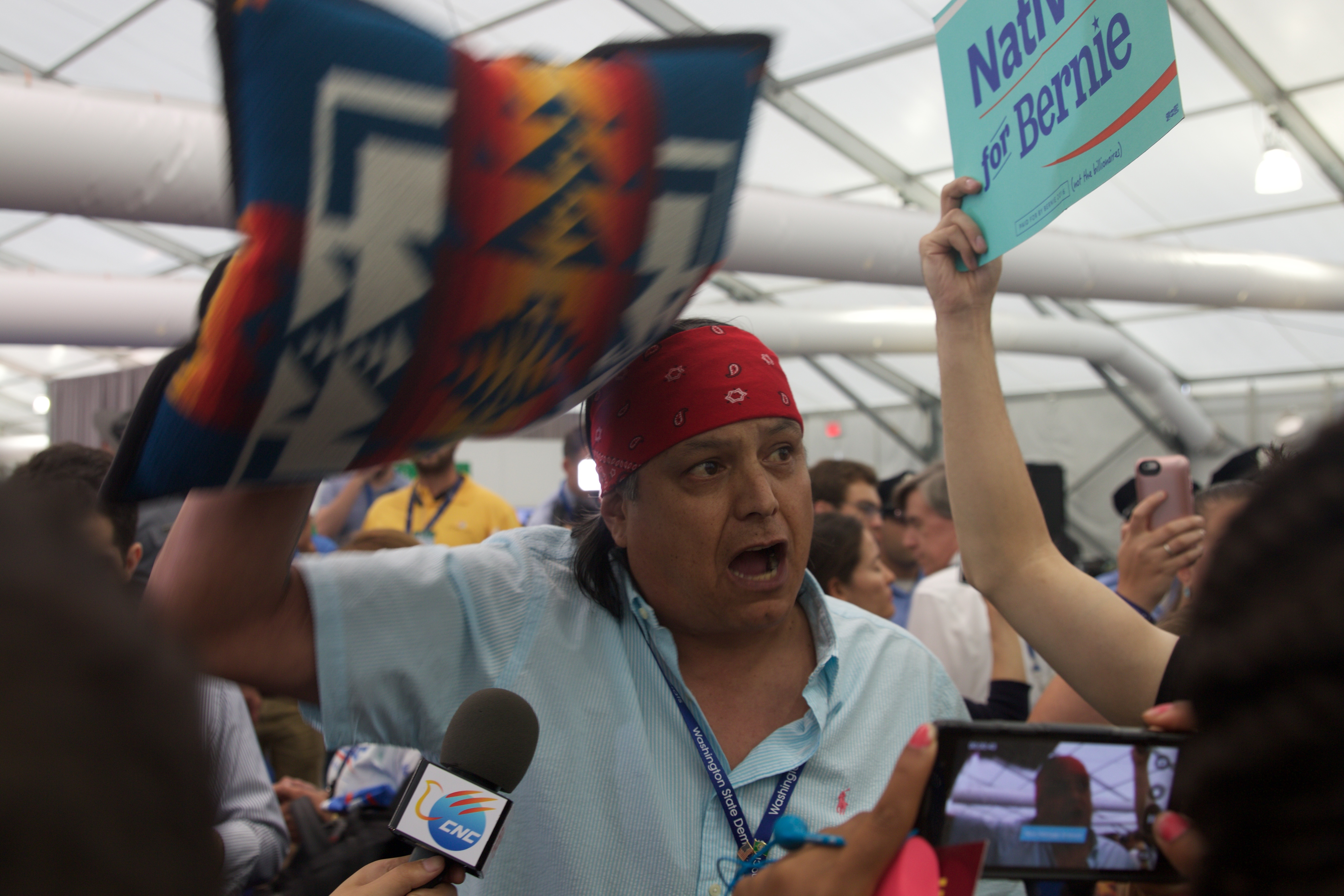 The staged walkout Tuesday night moved from the Democratic National Convention arena to the media tents. (Photo by Kelsey DeGideo/Cronkite News)
