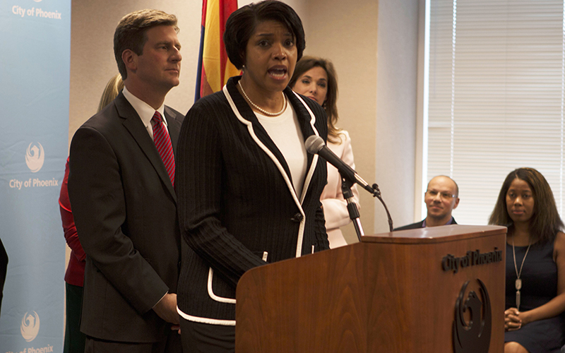 New Phoenix Police Chief speaks about her selection at a press conference at city hall with Mayor Greg Stanton behind her. (Photo by John Alvarado/Cronkite News)