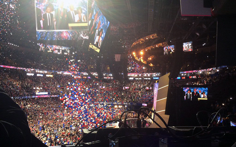 Balloons drop in the Quicken Loans Arena in Cleveland following Donald Trump's acceptance speech at the Republican National Convention. (Photo by Meghan Finnerty/Cronkite News)
