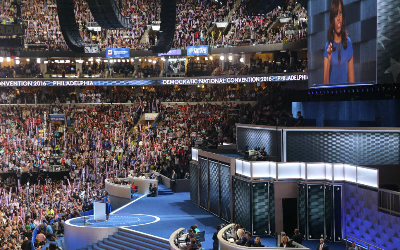 First Lady Michelle Obama spoke on the opening night of the Democratic National Convention following a day dominated by talk of DNC email leaks. (Photo by Kelsey DeGideo/Cronkite News)