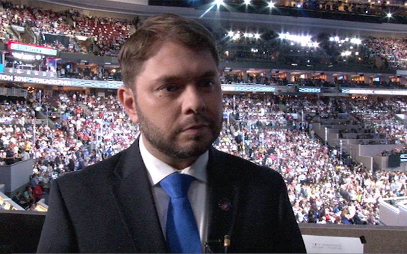 Rep. Ruben Gallego, D-Phoenix, won high marks from Arizona delegates to the Democratic National Convention for his Wednesday speech as well as his leadership of the delegation. (Photo by Veronica Acosta/Cronkite News)