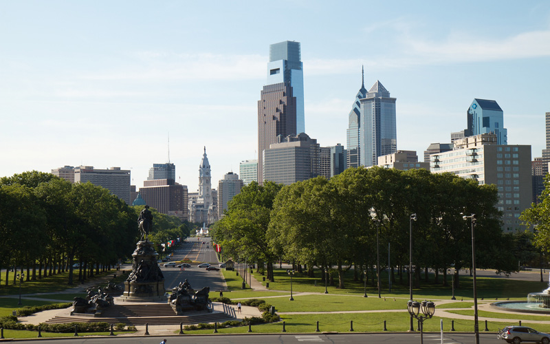 View of the Philadelphia skyline from the Museum of Art. (Photo by Rob Shenk via Creative Commons)