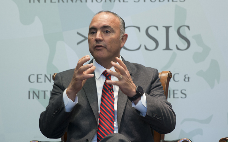 Jose Eduardo Calzada Rovirosa, Mexico's minister of agriculture,Livestock, Rural Development, Fisheries and Food, cited the country's growing export market as a reason for the need for a strengthened trade relationship. (Photo by Emily Zentner/Cronkite News)