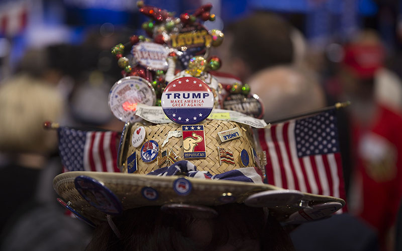 Patriotic outfits were just some of the color at the final night of the Republican National Convention, where Donald Trump accepted the presidential nomination. (Photo by Emily L. Mahoney/Cronkite News)