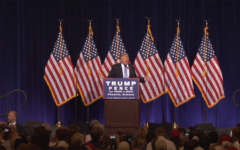 Donald Trump speaks on his immigration policy at the Phoenix Convention Center August 31. (Photo by Katie Bieri/Cronkite News)
