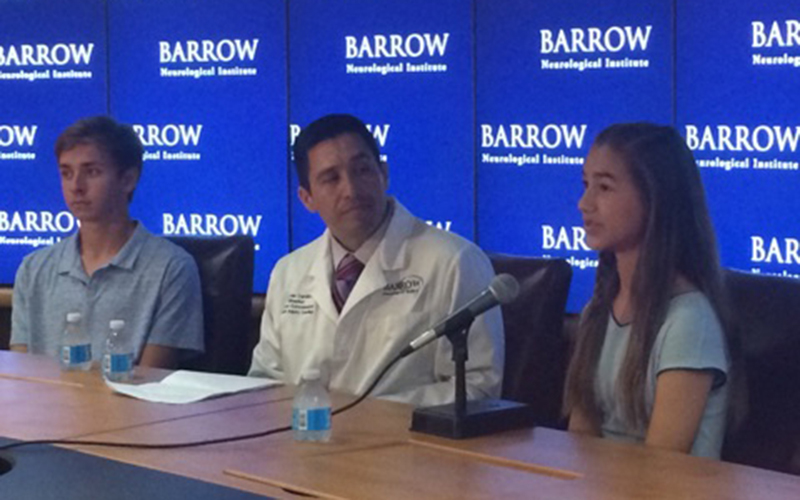 Dr. Cardenas, Andrew Wachtel and Bianca Feix address the media at the Barrow Neurological institute.(Photo by Kristina Vicario/Cronkite News)