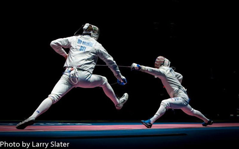 At the Olympics, Larry Slater shoots several different sports. In Rio he has taken photos at golf, badminton, gymnastics, fencing, beach volleyball and wrestling.