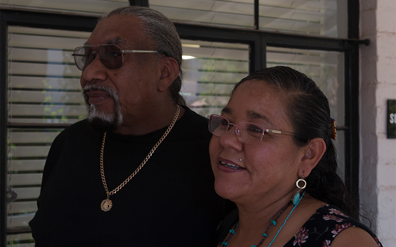 Manfred Scott, who chairs the Fort Yuma Quechan Tribe's cultural committee, supports the creation of the proposed national monument.  His wife, Ernestina Noriega Scott, is a member of the Pascua Yaqui tribe. (Photo by Courtney Columbus/Cronkite News)