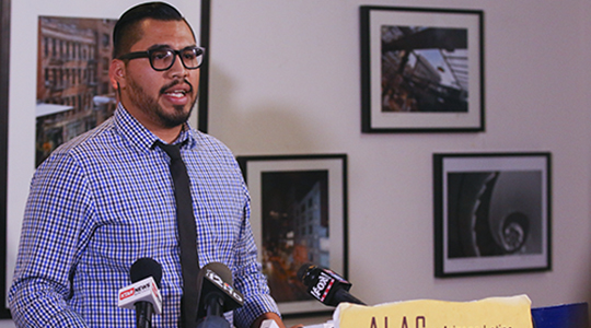 Arizona DREAMer Ramon Chavez expresses distrust ahead of Trump immigration talk in Phoenix; says he fears deportation during a press conference Aug. 31, 2016. (Photo by Brian Fore/Cronkite News).