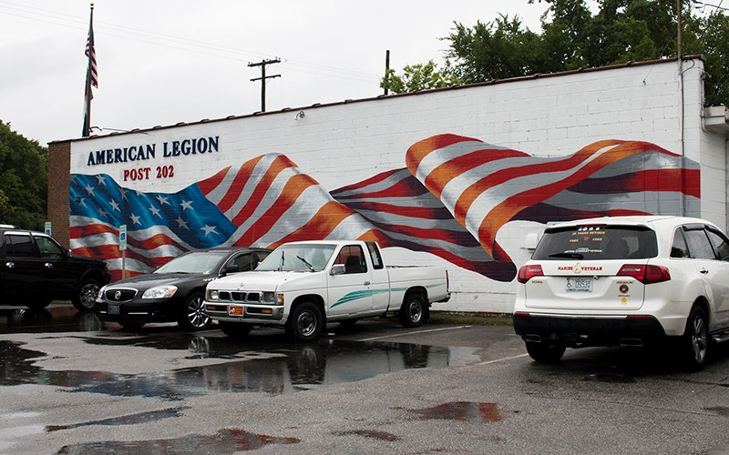 This American flag mural at American Legion Post 202 in Fayetteville, North Carolina, gained national notoriety when it was featured in a segment on the