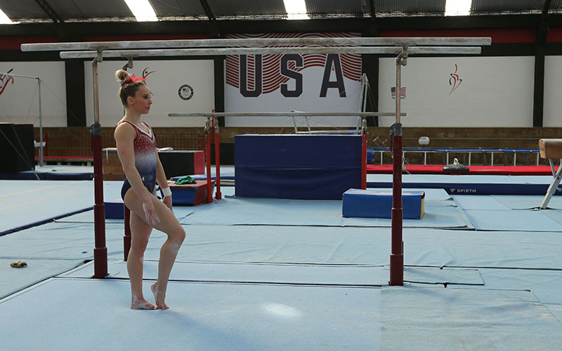 MyKayla Skinner represents Team USA as an alternate at the Flamengo Club. (Photo by Jaclyn Chung/Cronkite News)