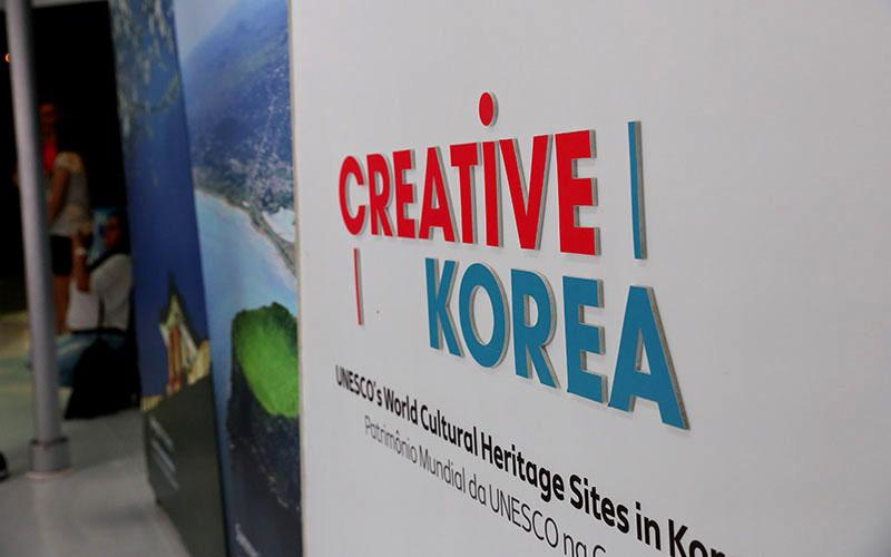 Creative Korea sign at the Pyeongchang 2018 House on Copacabana beach. (Photo by Langston Fields/Cronkite News)
