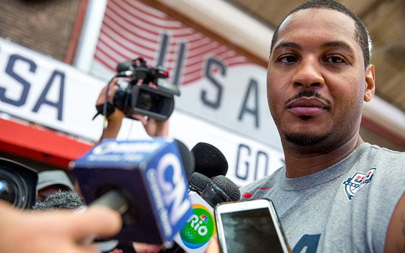 Carmelo Anthony answers questions before US men's basketball practice at the Flamengo Club in Rio de Janeiro.