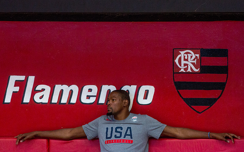 Kevin Durant sits before practice at the Flamengo Club in Rio de Janeiro on Thursday, Aug. 11, 2016.