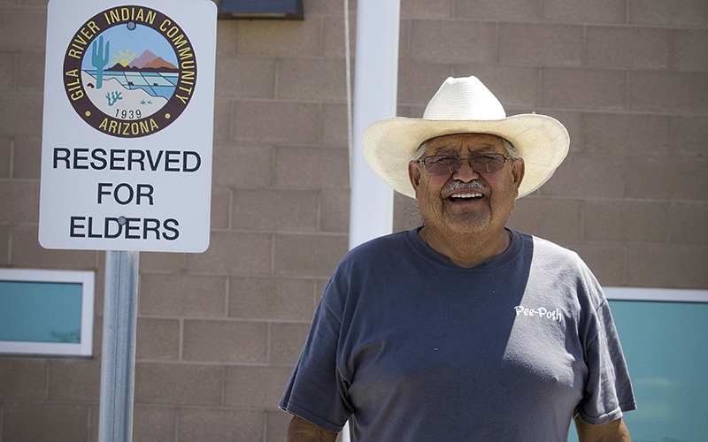 Pii Paash elder Joe Biakeddy said the Pii Paash signed a petititon to keep reclaimed water off of its portion of the Gila River Indian Community.  (Photo by Isabel Menzel/Cronkite News)