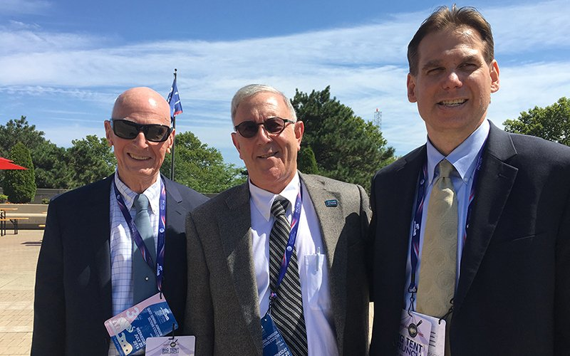 Log Cabin Republican member Hugh Rouse, Chairman Emeritus Leonard Olds and Chairman Jamie Ensley. from left, outside a pro-LGBT event at last month's Republican National Convention in Cleveland.(Photo by David Marino Jr./Cronkite News)