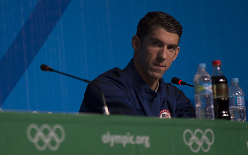 Michael Phelps is ready to bring the experience of a 23 gold-medal winning Olympian to the pool at ASU. (Photo by Katherine Fitzgerald/Cronkite News)