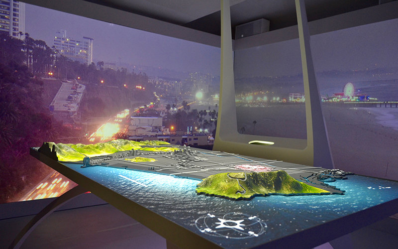 3-D mock up of Los Angeles' bid for 2024 Summer Olympics at USA House on Aug. 11, 2016.