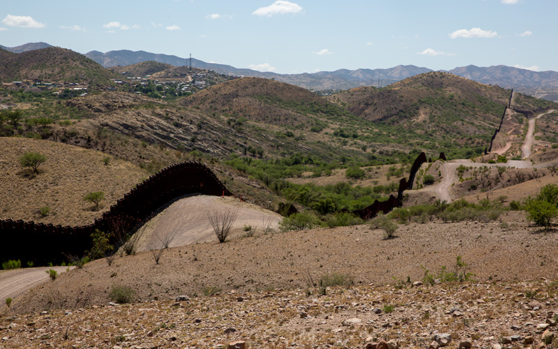 Nogales, Sonora (left) is separated from Nogales, Ariz. (right) by the border fence.