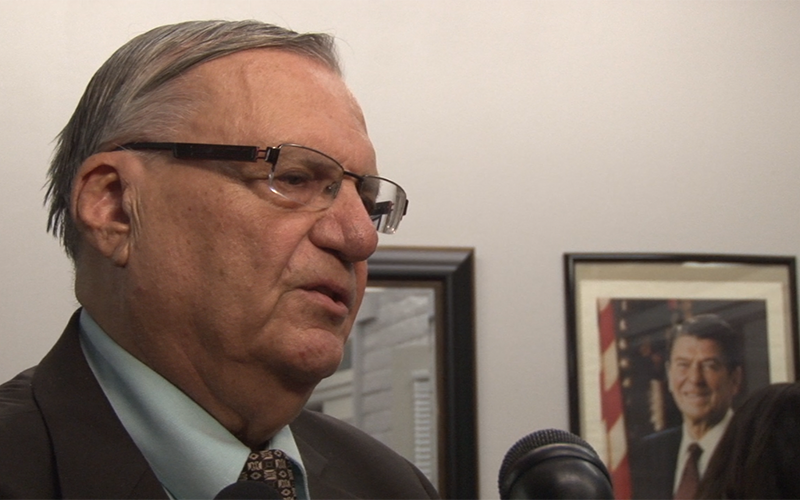 Maricopa County  Sheriff Joe Arpaio speaks to reporters at the GOP headquarters (Photo by Katie Bieri/Cronkite News)