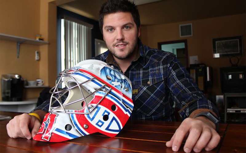 Artist David Leroux's passion for hockey masks stems from his career as a youth and amateur hockey player. (Photo courtesy David Leroux/ DielAirBrush)