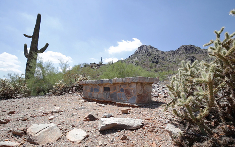 The second memorial bench along the Nature trail at Piestewa Peak, apart of Phoenix Mountain Preserve. (Photo by Ryan Dent/Cronkite News)